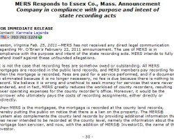 MERS Responds to Essex Co., Mass. Announcement Company in compliance with purpose and intent of state recording acts