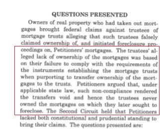 Anh N. Tran, et al. v. Bank of New York Certiorari QUESTION PRESENTED red line
