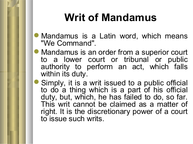 How to write writ of mandamus